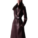 Cool Style Leather Trench Coat for Women