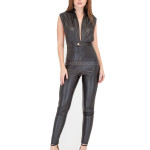 Trendy Style Leather Jumpsuit For Women