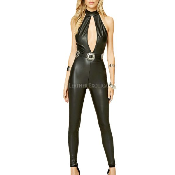 Sexy leather jumpsuit