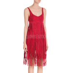 Valentine Day Special Fringed Suede Leather Dress
