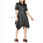 Handkerchief Style Women  Leather Dress