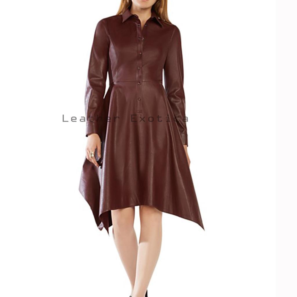 Handkerchief Style Women Leather Dress Leatherexotica