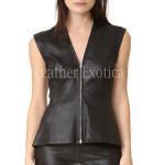 Faux Leather Peplum Top For Women