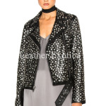 Designer Studded Women Leather Biker Jacket
