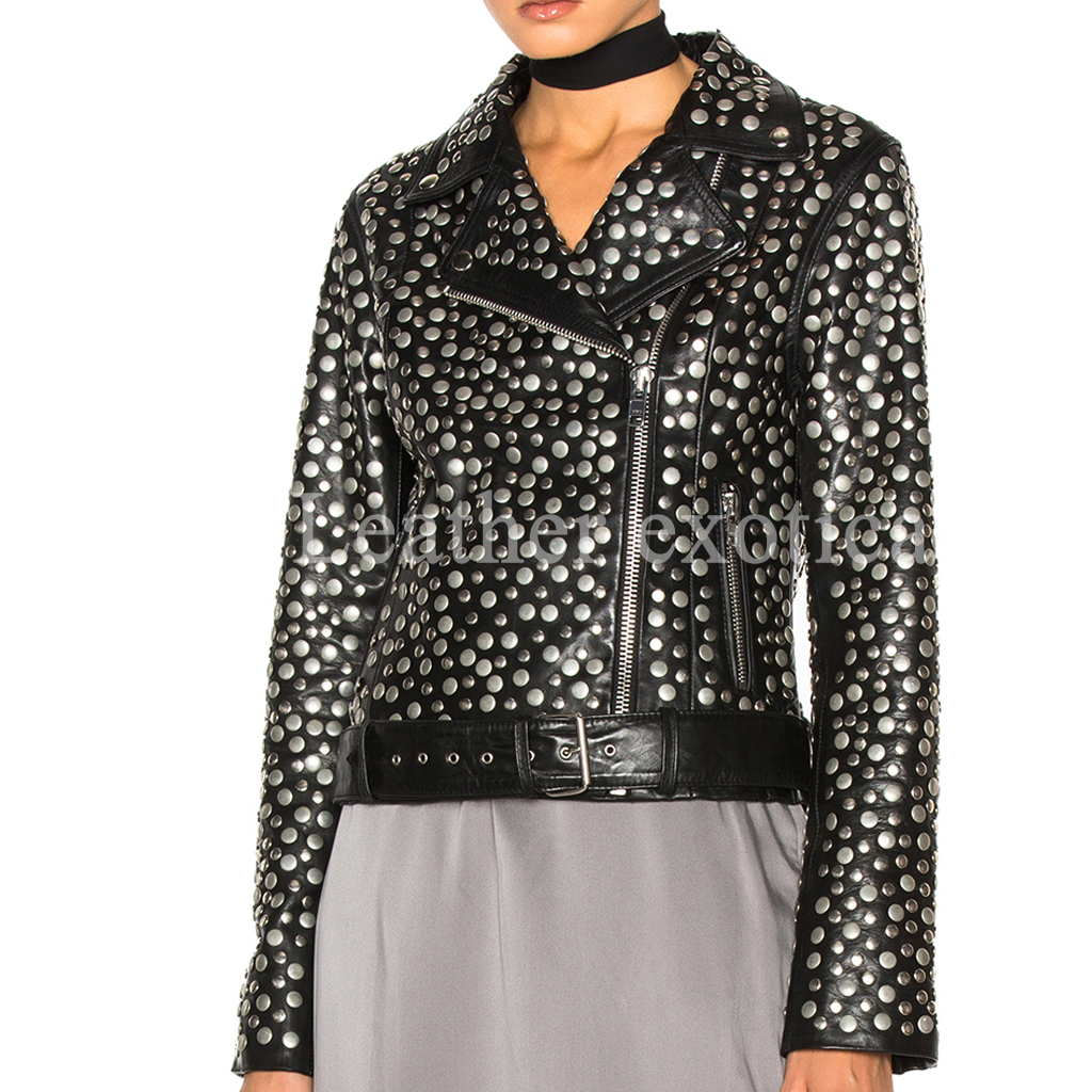 Designer Studded Women Leather Biker Jacket Leatherexotica