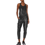One Piece Cropped Length Leather Jumpsuit