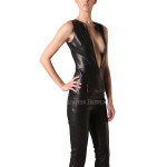 Sexy Style Women Leather Jumpsuit