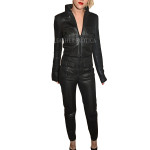 Grained Leather Women Jumpsuits