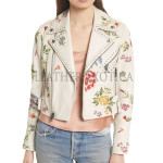 Embroidered Crop Leather Jacket For Women