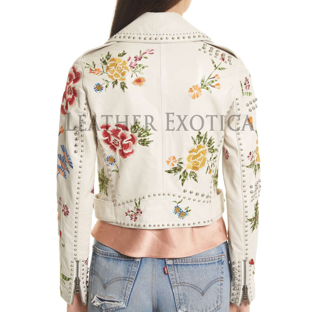 Embroidered Crop Leather Jacket For Women Leatherexotica