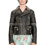 Studded Biker Leather Jacket For Men
