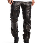 Faux Leather Camouflage Pant For Men