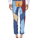 COLOR BLOCK MEN SUEDE LEATHER PANT