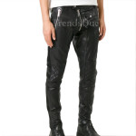 Zip-Embellished Leather Trousers