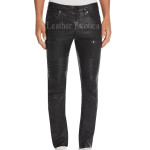 Moto Slim Fit Men Leather Pants
