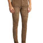 SUEDE LEATHER MID-RISE SLIM-LEG TROUSERS