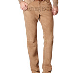 Men Straight-Fit Suede Pant