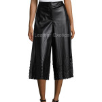 Laser Cut Faux Leather Culottes