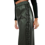 High Waist Side Frill Leather Culottes Trousers