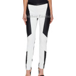 Color Blocked Women  Leather Trouser