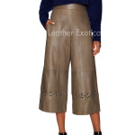 Metal Eyelet Wide Leg Leather Pant