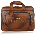 Tan Leather Men's Shoulder Laptop Briefcase Bag