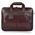 Men's Brown  Leather Messenger Shoulder Briefcase