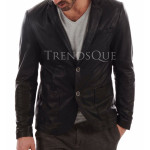 Slim Fit Leather Blazer For Men