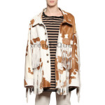 Genuine Leather Cow Printed Fringed Women Jackets