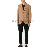 Two Button Men Professional Leather Blazer