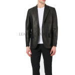 Sporty Style Men Leather Blazer