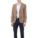Elegant Suede Leather Men Leather Blazer