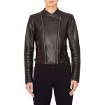 Paneled Women Leather Biker Jacket