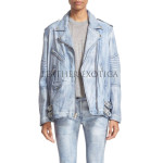 Denim Look Women Washed Leather Jacket