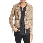 Leopard Print Women Leather Biker Jacket