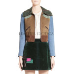 Color Block Women Cropped Leather Jacket