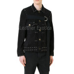 Stud Design Suede Leather Jacket