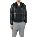 Hooded Style Bomber Leather Jacket