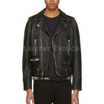 Lamb Skin Leather Motorcycle Leather Jacket