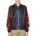 Color Block Men Bomber Leather Jacket