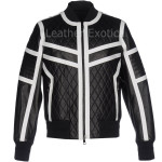 Quilted Style Bomber Leather Jacket