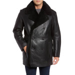 Faux Fur Lining Double Breasted Men Leather Coat