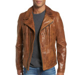 Distressed Styled Men Biker Leather Jacket