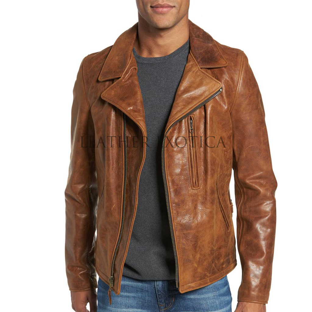 Distressing leather jacket