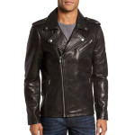 Notch Collar Men Motorcycle Leather Jacket