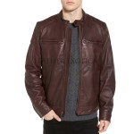 Zipper Front Leather Bomber Jacket
