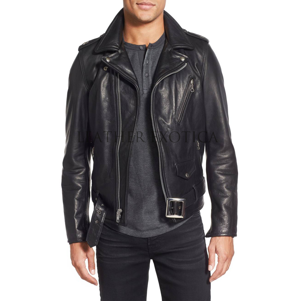 Belted Waist Men Motorcycle Leather Jacket