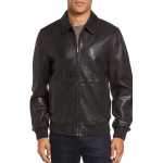 Zipper Front Classic Bomber Men Leather Jacket