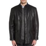 Zipper Front Buttoned Men Leather Jacket