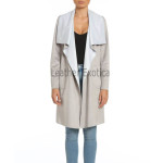 No Closure Suede Leather Coat